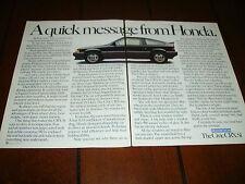 1985 HONDA CIVIC CRX Si ***ORIGINAL 2 PAGE AD***