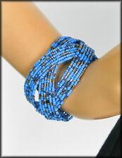 SS4U Wide Cuff Beaded Bracelet Layered Criss Cross Green,Pink,Tan,Blue or Purple