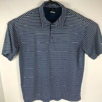 Nike Golf Dri-Fit UV Mens Short Sleeve Polo Shirt Blue White Striped Size Large