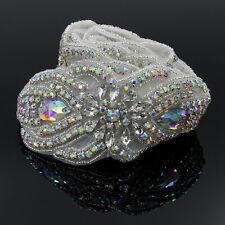 1Yd Silver AB Clear Rhinestone Trim Bridal  DIY Beaded Applique Sewing Craft