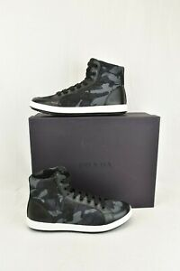 PRADA 4T2842 CAMOUFLAGE FABRIC BLACK BLUE LOGO LACE UP ZIP SNEAKERS 8.5 US 9.5
