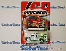 "2001 Matchbox #42 Rescue Squad Series (white) ""AMBULANCE"" w/opening door ~ O1"
