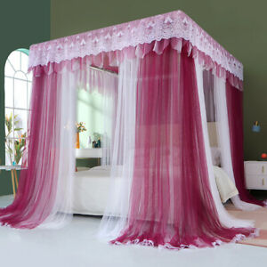 Luxury mosquito net for summer bed canopy Double pole & Double yarn Bed curtains