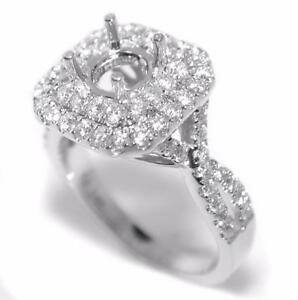 Classy 0.82 Ct Double Halo Diamond Semi Mount Setting Engagement Ring 14K Gold