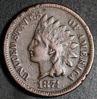 1874 INDIAN HEAD CENT With LIBERTY - VF VERY FINE Details