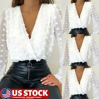 Women Sexy V Neck Loose Tunic Shirt Top Sheer Mesh Lace Long Sleeve Blouse US
