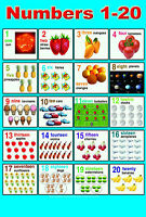 LAMINATED NUMBERS (1-20) CHILDREN LEARNING EDUCATIONAL POSTER WALL CHART