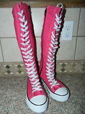 MENGSAI women's girls Birght Pink KNEE HIGH Lace Up Zipper Boots Shoes* 6  NEW