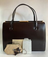 MacLaren 1960s Vintage Brown Leather Handbag Suede Lining Purse Mirror Care Card