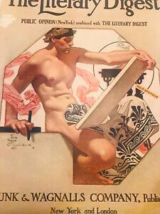 1908 Literary Digest FULL Magazine JC Leyendecker Scribe Nude Male Gay Interest