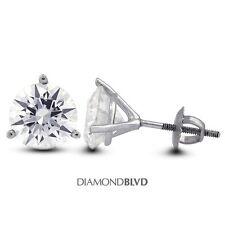 0.91 CT I/SI2/Ex Round AGI Earth Mined Diamonds 14KW 3-Prong Martini Earrings 1g