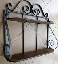 Mensola doppia rustica in ferro  battuto e legno parete libreria fioriera