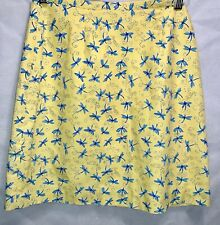 Lilly Pulitzer Designer Short Skirt Yellow Blue Dragonfly 4 Cotton