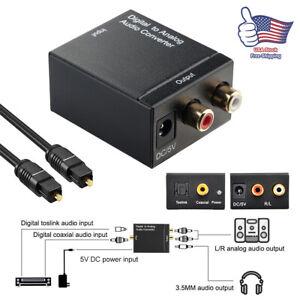 Digital Optical Coax to Analog RCA L/R Audio Converter Adapter w/ Fiber Cable US