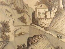 Dessin, Encre de Chine. Porte de St Maurice, Suisse, Vers 1850. Signé Loewensten