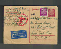 1941 Leipzig Germany to USA Judaica Censor Israel Postcard Cover Hugo Weil