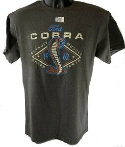 Ford Shelby Cobra T-Shirt - Gray w/ 1962 Snake Emblem / Logo (Licensed)