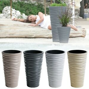 Large Tall Sand Effect Flower Plant Pot Indoor Outdoor Garden Patio Planters NEW
