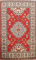 Geometric Oriental Super Kazak Area Rug Hand-Knotted Wool Home Decor Carpet 3x4