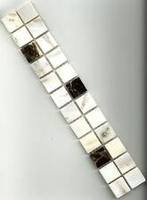 Mosaikbordüre Fliesenbordüre 4,8x30x0,8cm 2,3x2,3x0,8cm braun & weiß