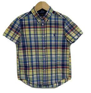 Ralph Lauren Short Sleeve Multicolor Botton Up Shirt Boy's sz 7 (A-1A)