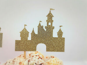 Castle Cupcake Toppers,Glitter Castle Food Picks,Princess Party Decorations