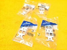 ***NEW*** LOT OF (4) LEVITON 41087-QWP 4-PORT WHITE DATA DUPLEX PLATE 106 INSERT