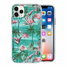 For Mobile Phone TPU Back Case Cover Tropical Pale Flamingos - T1837