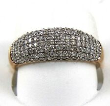 Round Diamond Pave Smooth Dome Ring Band 14k Rose Gold .83Ct