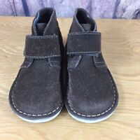 Kids Willits Briwn Suede Ankle Boots 8M Hooknloop Strap Toddlers Shoes