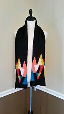 NWT $54 Modcloth Kaleidoscope Scarf by Wooden Ships Geometric Knit Black Mohair