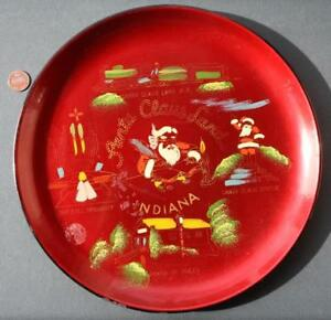 1950-60 Era Santa Claus Land Indiana Colorful souvenir tray-Doll Organist-Train!