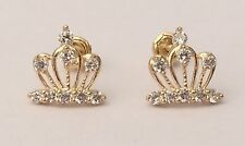 14K Real Yellow Earrings Gold Small Crown  Hollow Diamond Cut Ladies Unisex