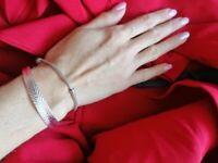 Vintage 999 Sterling Silver *Plt Hollow Pattern Bohemian Cuff Bracelet UK Seller