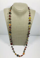 Vintage Necklace Silver Tone & Wire Wrapped Multicoloured Glass Beads Pretty