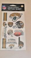 NFL JACKSONVILLE JAGUARS  TEMPORARY TATTOOS 1 SHEET 7 TATTOOS FAST FREE SHIPPING