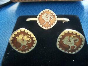 Vintage Golden Rooster Copper / Gold Tone Cuff links & Tie Clip Set