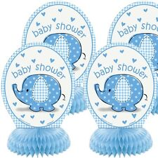 Baby Shower Elefant Wabendeko, blau, 4 Stück