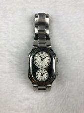Philip Stein Teslar Mens Dual Time Watch Stainless Steel Bracelet Roman Numerals