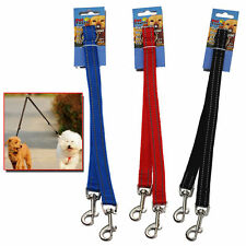 REFLECTIVE DOG COUPLER LEAD DOUBLE TWIN FOR TWO DOGS PUPPY WALKING LEASH