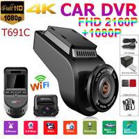 2 In 4K Dual Lens 2160P+1080P Car Dash Cam WiFi DVR Camera Audio Video Recorder