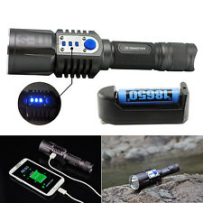 5 Modes XM-L2 LED Flashlight Torch USB Charging Mobile Power Bank 18650 Battery