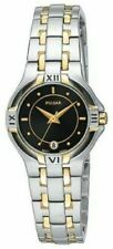NEW LADIES PULSAR PXT604 WATCH Classy Two Tone Stainless Steel with Black Dial