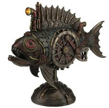 "12"" Steampunk Submarine Melanocetus - Supero Duo w/ LED Head Light Gothic Fish"