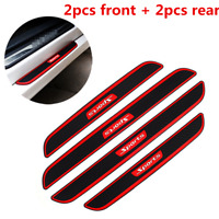 4Pcs Rubber Car SUV Door Sill Scuff Plate Cover Step Protector Carbon Fiber Look