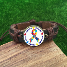 Autism Awareness Puzzle Piece Brown Glass leather & chord Bracelet-SL814