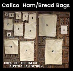 Calico Drawstring Bags Calico Ham Bag Calico Bread Bag Calico Food Bag
