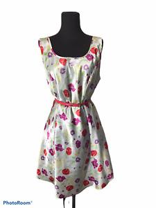 GILLIGAN O'MALLEY Shiny Floral Tulip Print Poly Summer Slip DRESS Lingerie LG
