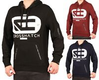 Crosshatch Mens Logo Hooded Sweatshirt Fleece Hoodie Blue Red Black New Top