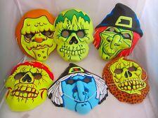 6 Vintage Halloween Masks Vacuform Plastic Witch Skeleton Skull Zombie Horror
